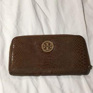Tory Burch zip wallet clutch  brown